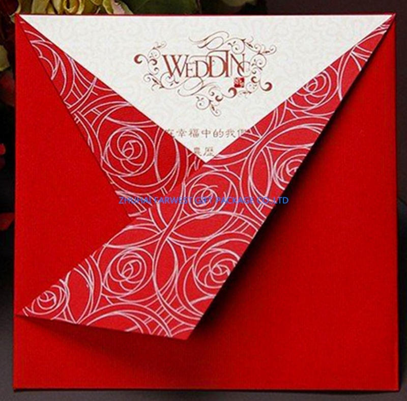 China Red Fancy Paper Wedding Invitation Cards Chinese