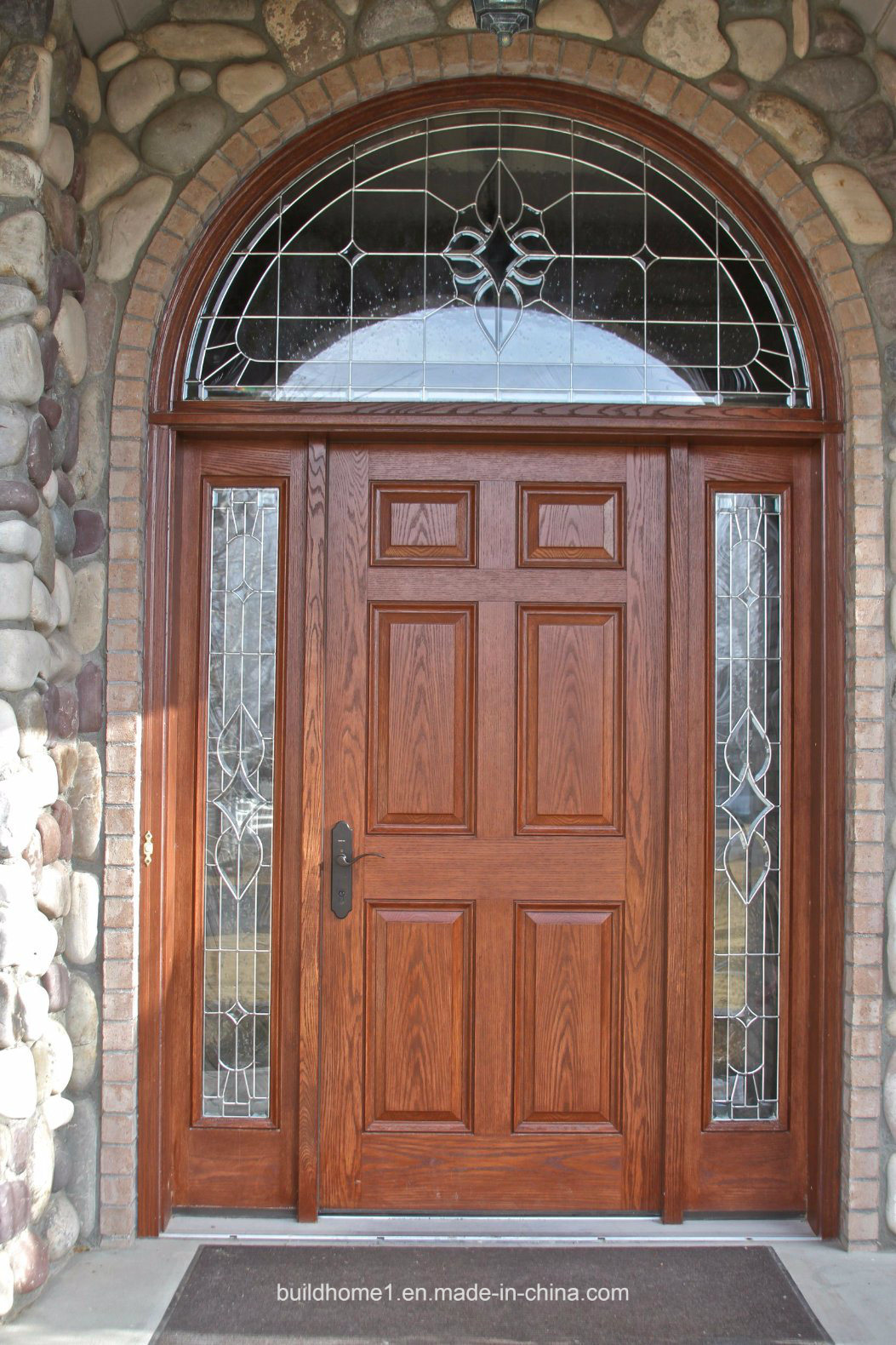China Curved Top Solid Wood Exterior Front Entry Door With Sidelight