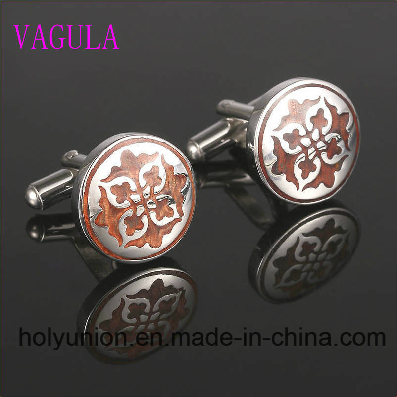 VAGULA Designer Rosewood Cuff Links Stainless Steel Red Wood Cufflinks 361