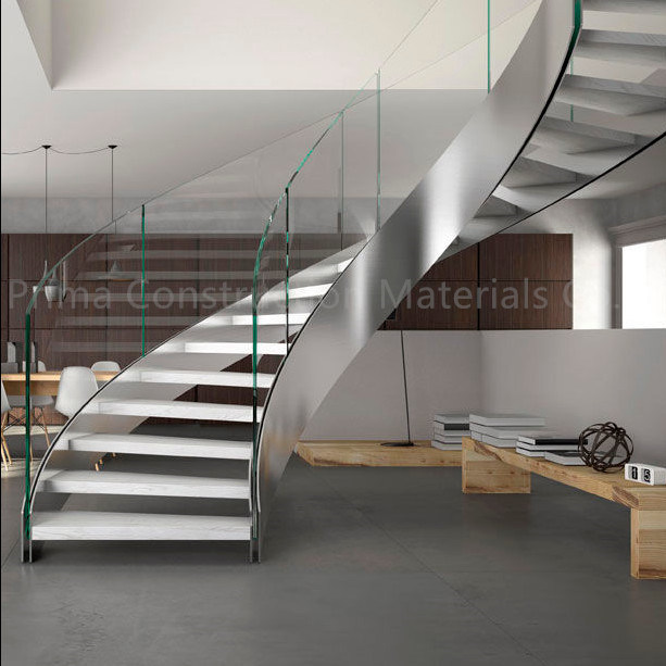Stainless Steel Balustrade Glass Curved Stair