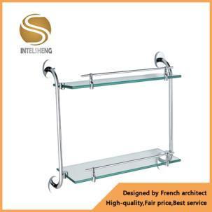 China Brass Double Glass Shelf For Bathroom Accessories Aom 8115
