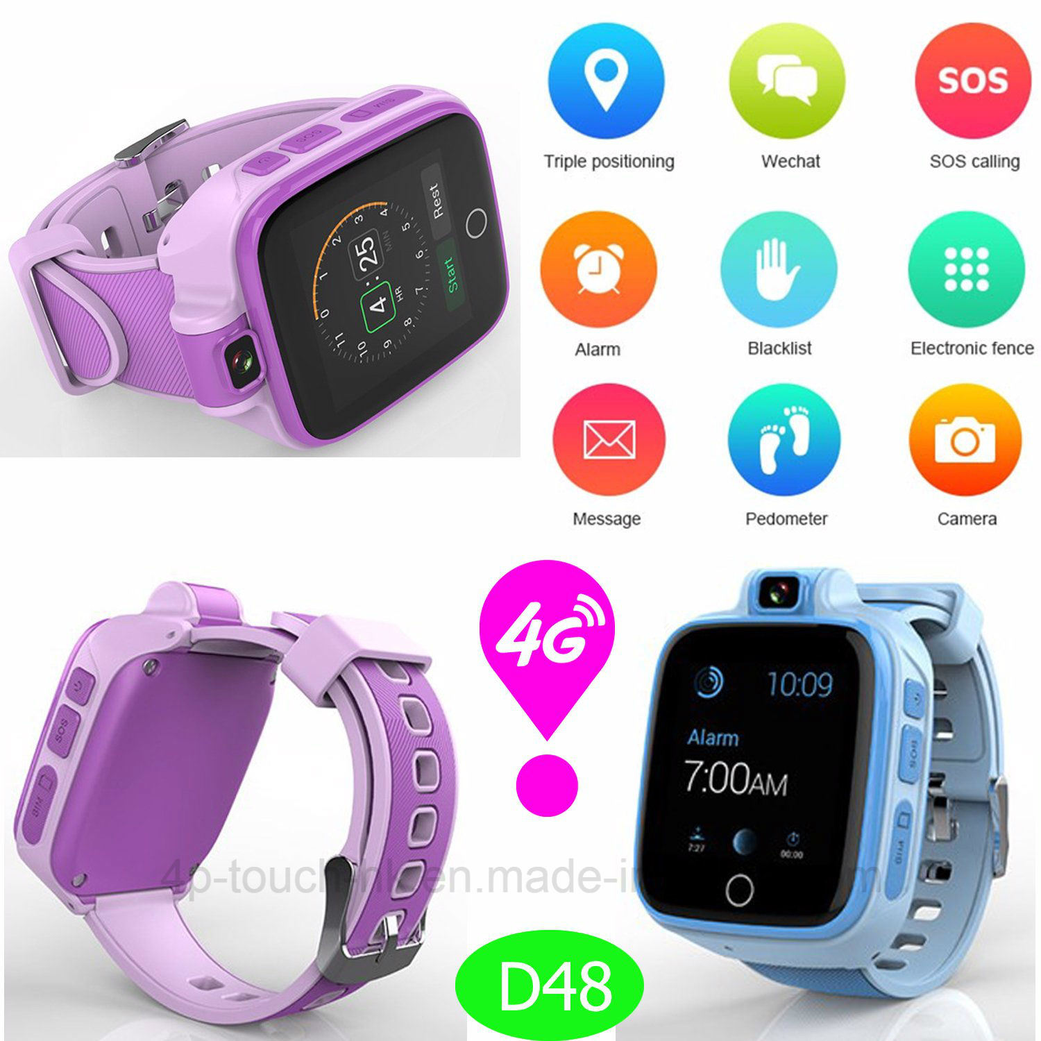 3328d4372256 China 4G Lte Kids Adults GPS Tracker Watch with Whatsapp Video Call D48 -  China GPS Tracker