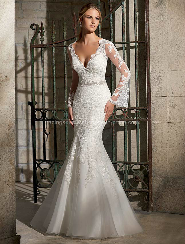 China Sexy Long Sleeve Mermaid Bridal Gown Lace Wedding