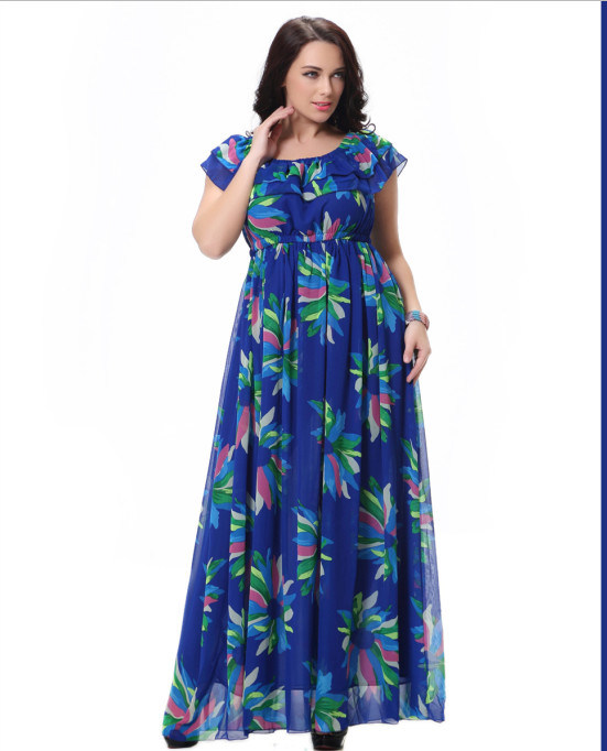 a9f3659dba5 China Beautiful Floral Print Chiffon Summer Dress for Fat Woman ...