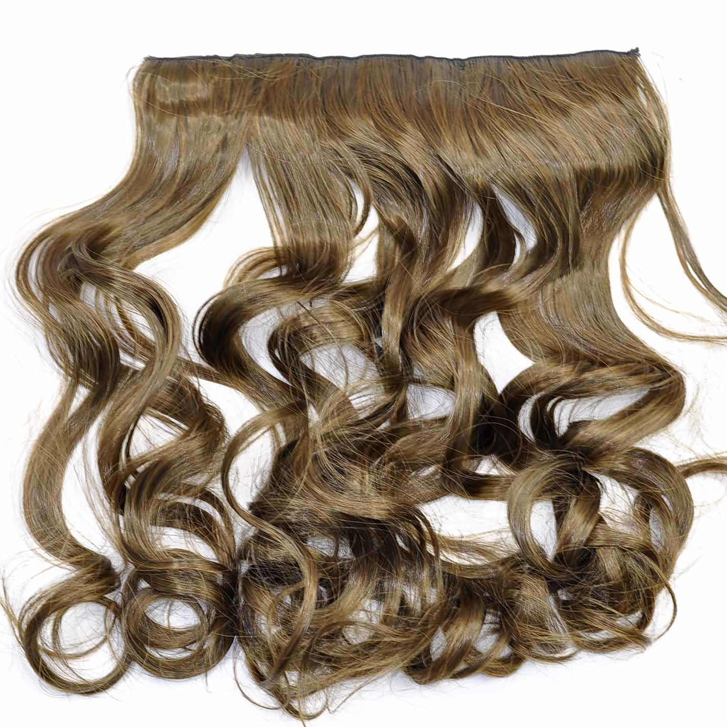 China 100 Synthetic Clips In Hair Pieces Dark Brown Color Hair