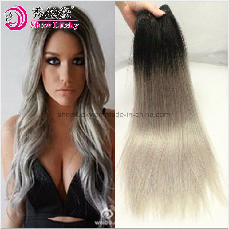 China New Fashion Two Tone Colored Dark Root 1bgrey Brazilian