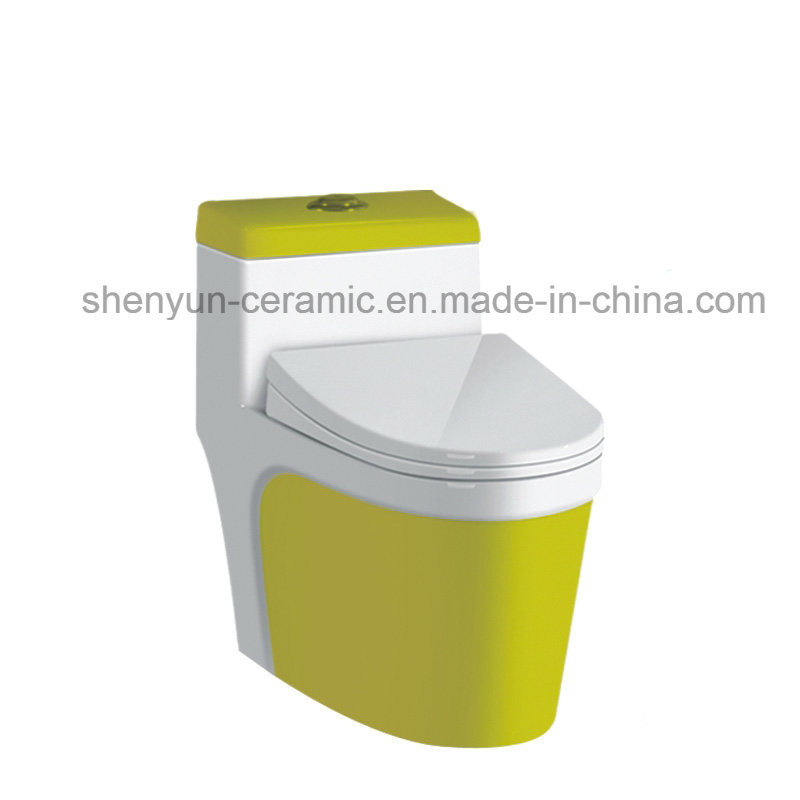 Ceramic One-Piece Toilet Color Toilet Siphonic Flushing S-Trap (A-009)