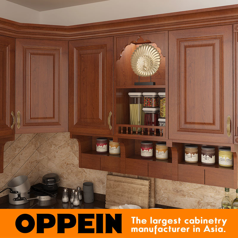 Oppein India Style L Shape Brown PVC Wood Modular Kitchen Cabinet OP15 PP06