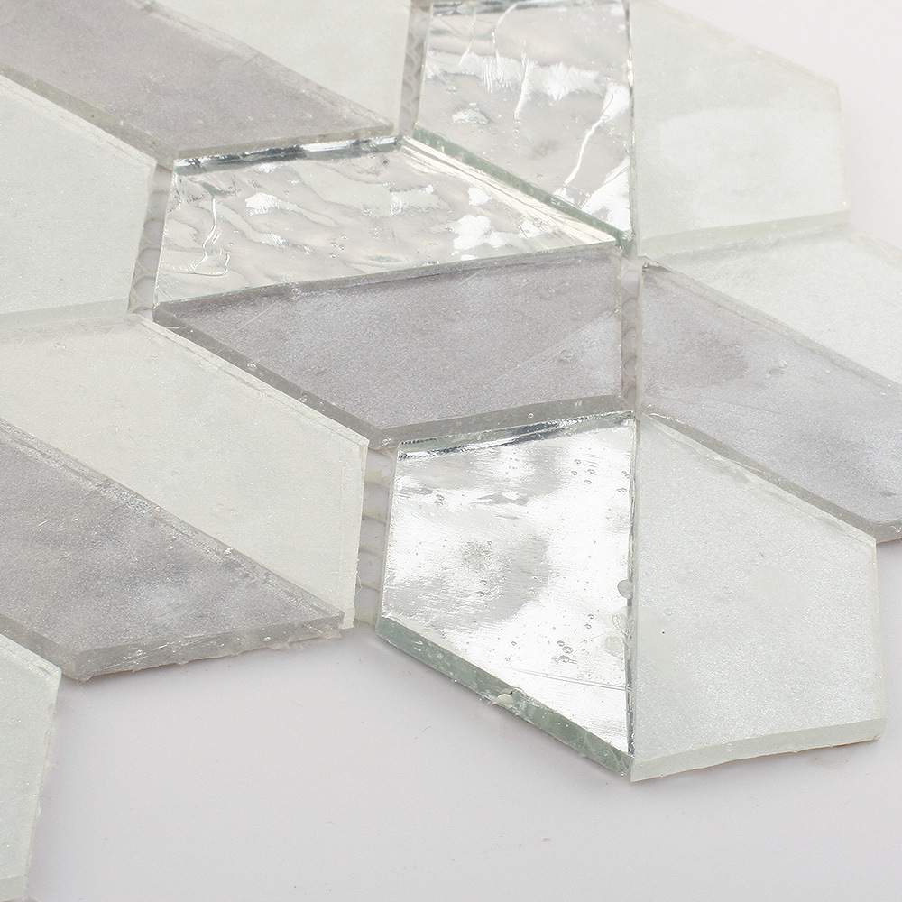 - China Grey Glitter Sliver Glass Tile Mosaic Sheets For Bathroom