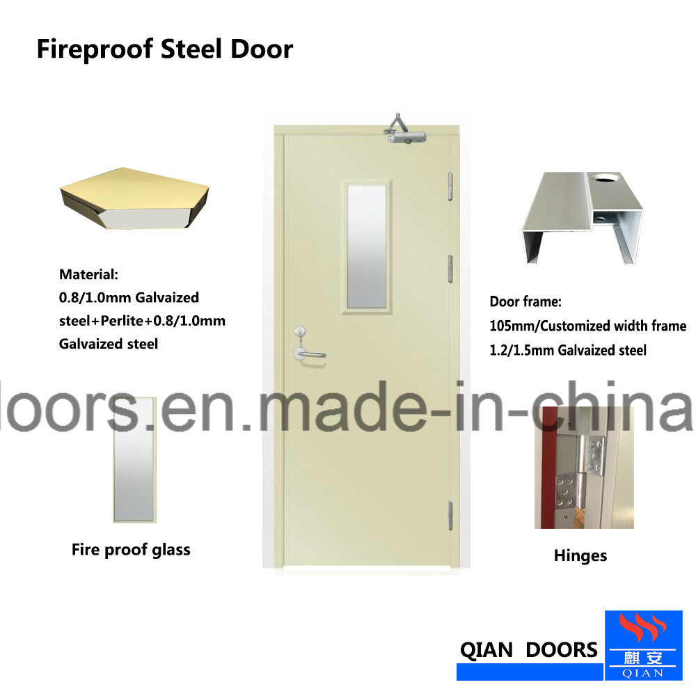 2018 BS Cerfiticated Steel Fire Door with Fireproof Vision Glass pictures & photos