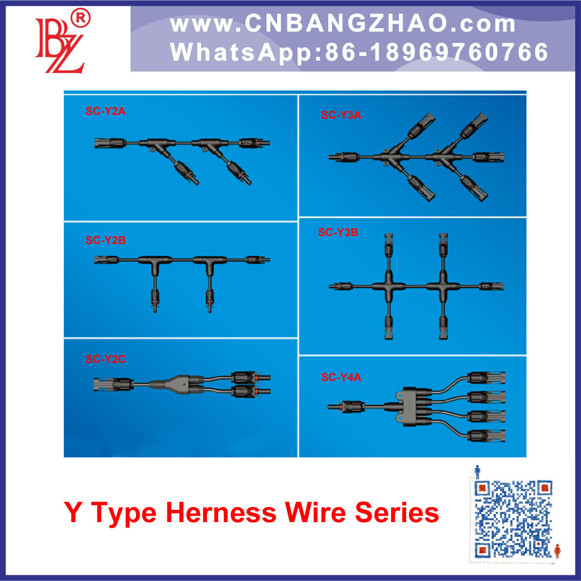 China High Quality Tinned Copper Y Type Connectors Ip67 Solar Wiring Harness Connector Types Branch Y3 Assembly Pv