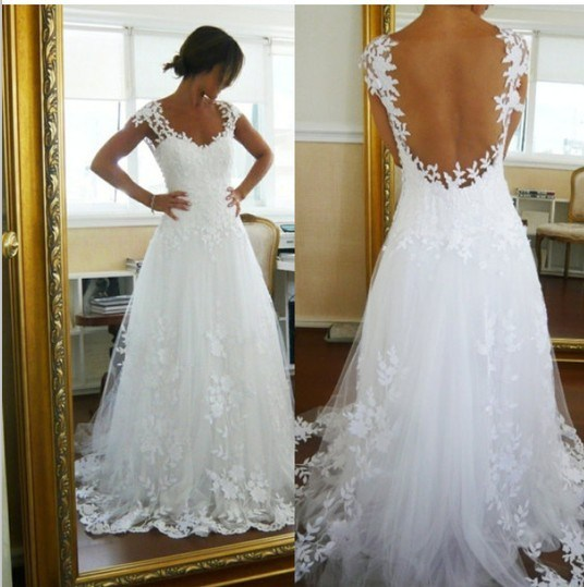 Cap Sleeve Bridal Gown Lace Straples A Line Open Back Wedding Dress W1331