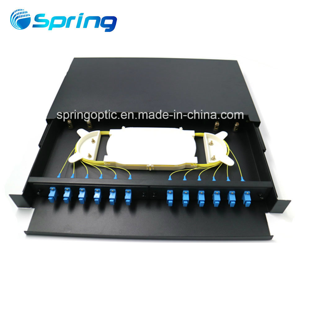 China Fttx 12 Port Sc Fiber Optic Sliding Distribution Patch Panel China Fiber Optic Patch Panel Patch Panel