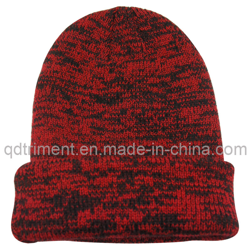 Contrast Curled Edge Acrylic Winter Ski Knitted Beanie (TRKB021)