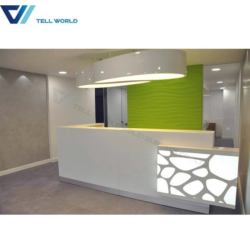 Small Salon Reception Desk White And Green Table Hotel
