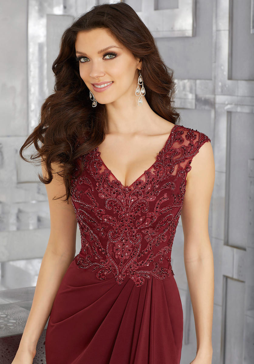 China Beaded Lace and Chiffon Mother Dress Ladies Wine Evening Gown ...