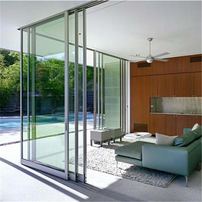 China Tempered Glass Sliding Dooraluminium Frame Tempered Glass