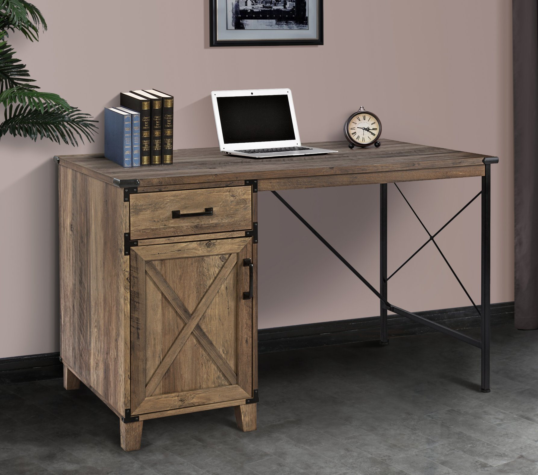 China Home Office Furniture Living Room Modern Fashion Wooden Rustic Oak Color Luxury Writing Desk Executive Table Computer Table With Cabinet Drawer China Writing Desk Office Furniture Writing Desk