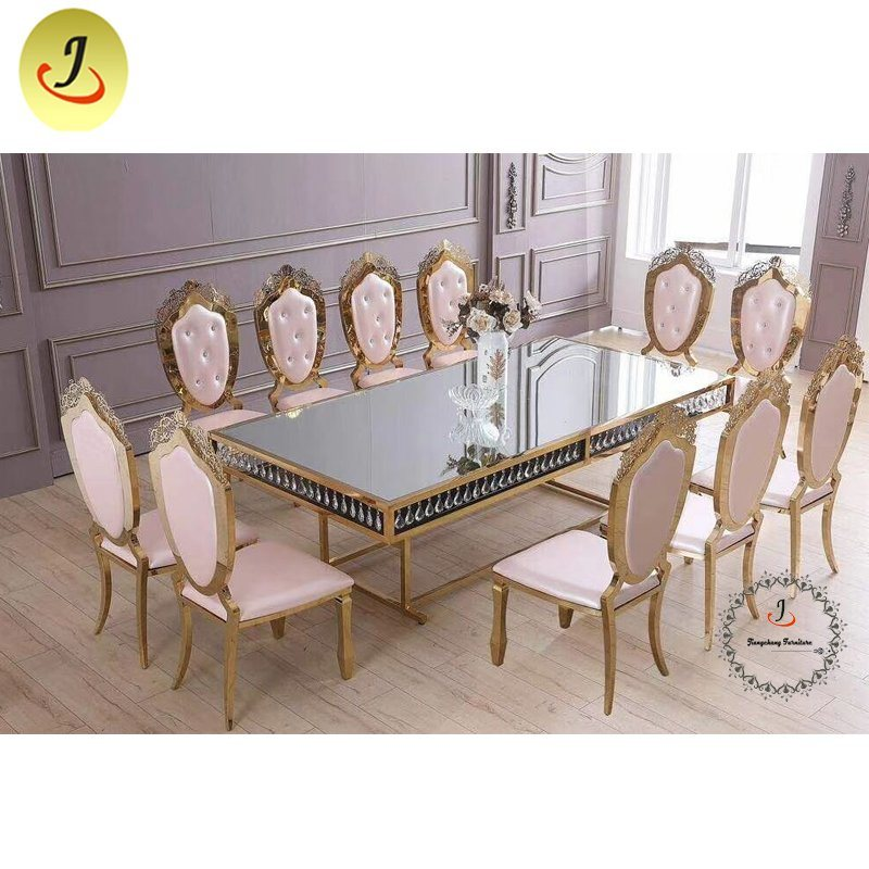 China Mirror Glass Top Gold With, Mirror Dining Room Table