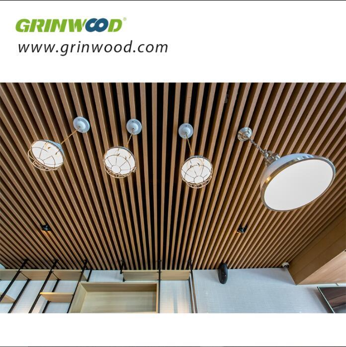 China Grinwood Wood Plastic Composite Hollow Decorative Laths Building Material Wpc Solid Board