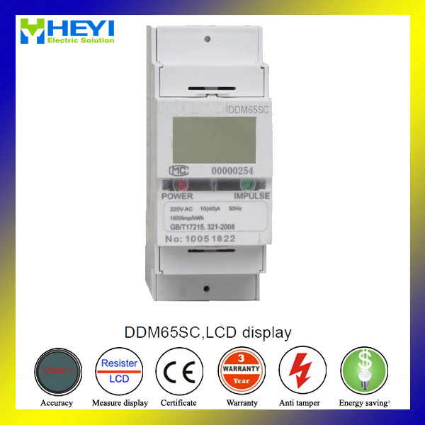 Single Phase DIN Rail Electric Meter 2 Pole Kwh Meter with Two Wire LCD Display with RS485 Communication Energy Meter