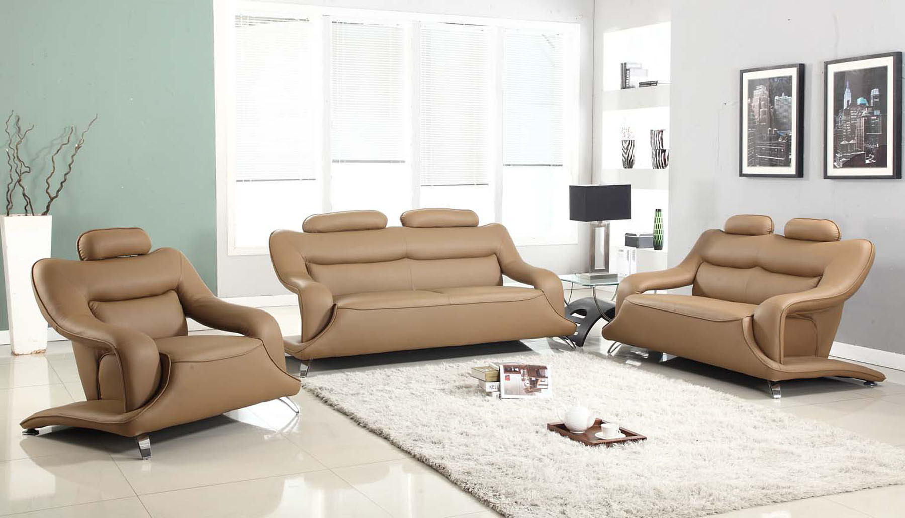 Home Furniture Light Brown Leather Sofa