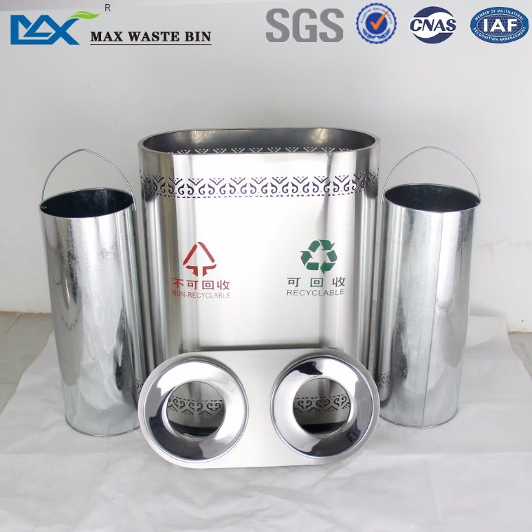 China Max-Sn125 Two Bin Compartment Rvs Recycle Waste Bin Stainless