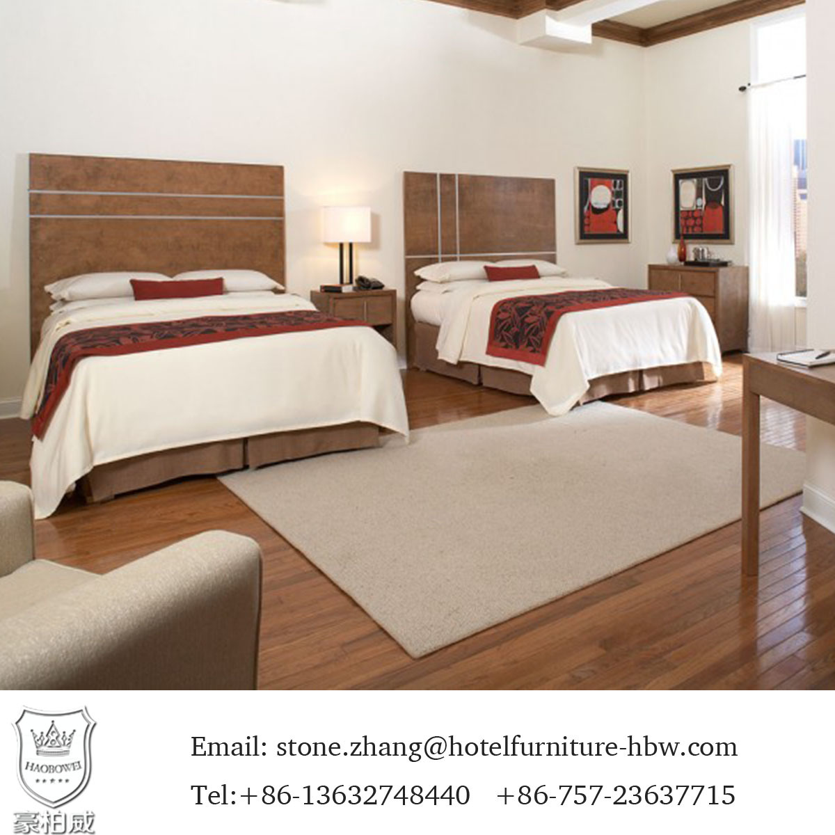 Chinese Hotel Bedroom Furniture Set Upholstered with Quality Fabric pictures & photos