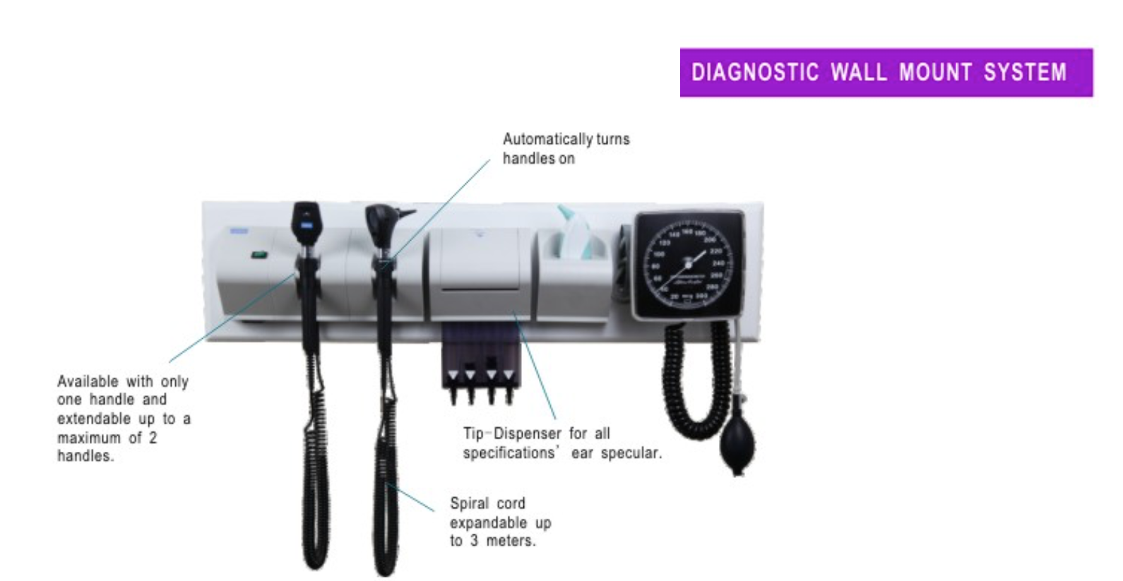 Ophthalmoscope, Otoscope and Sphygmomanometer Diagnosis Set Wall Mount