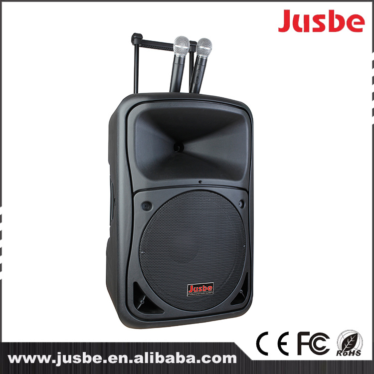 Jusbe 15 Inch 450 Watts portable Outdoor Professional Audio bluetooth Speaker Trolley Speaker Luggage Loudspeaker with USB MP3 Play