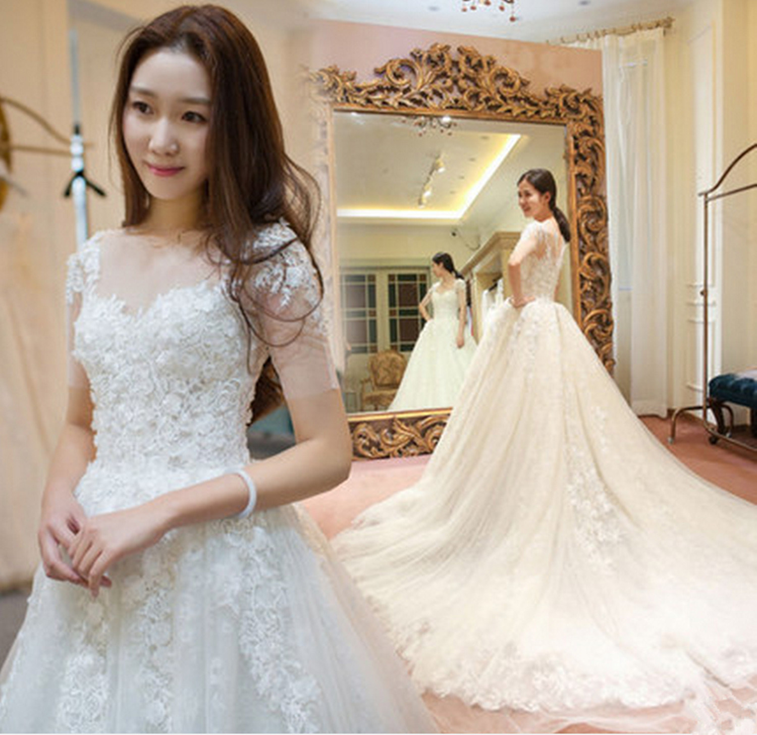 China 2017 New Arrival MID-Sleeves Ball Gown Pregnant Wedding Dress ...