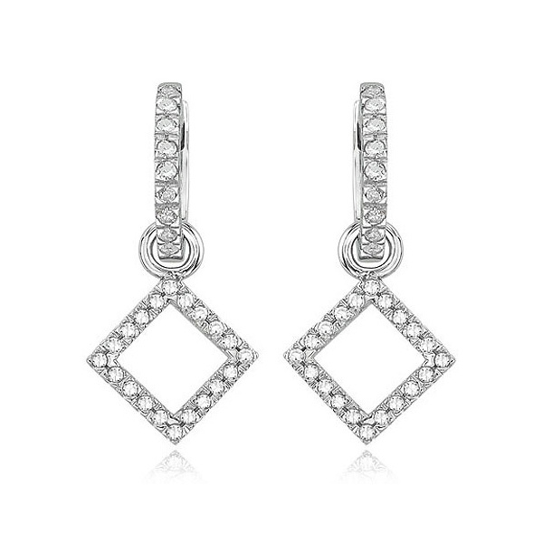 Micro Pave Setting Sterling Silver Diamond Dangle Earrings Wholesales
