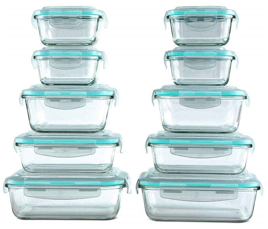 5 Pieces Glass Lunch Box Microwave Glass Bowl Crisper with Cover pictures & photos
