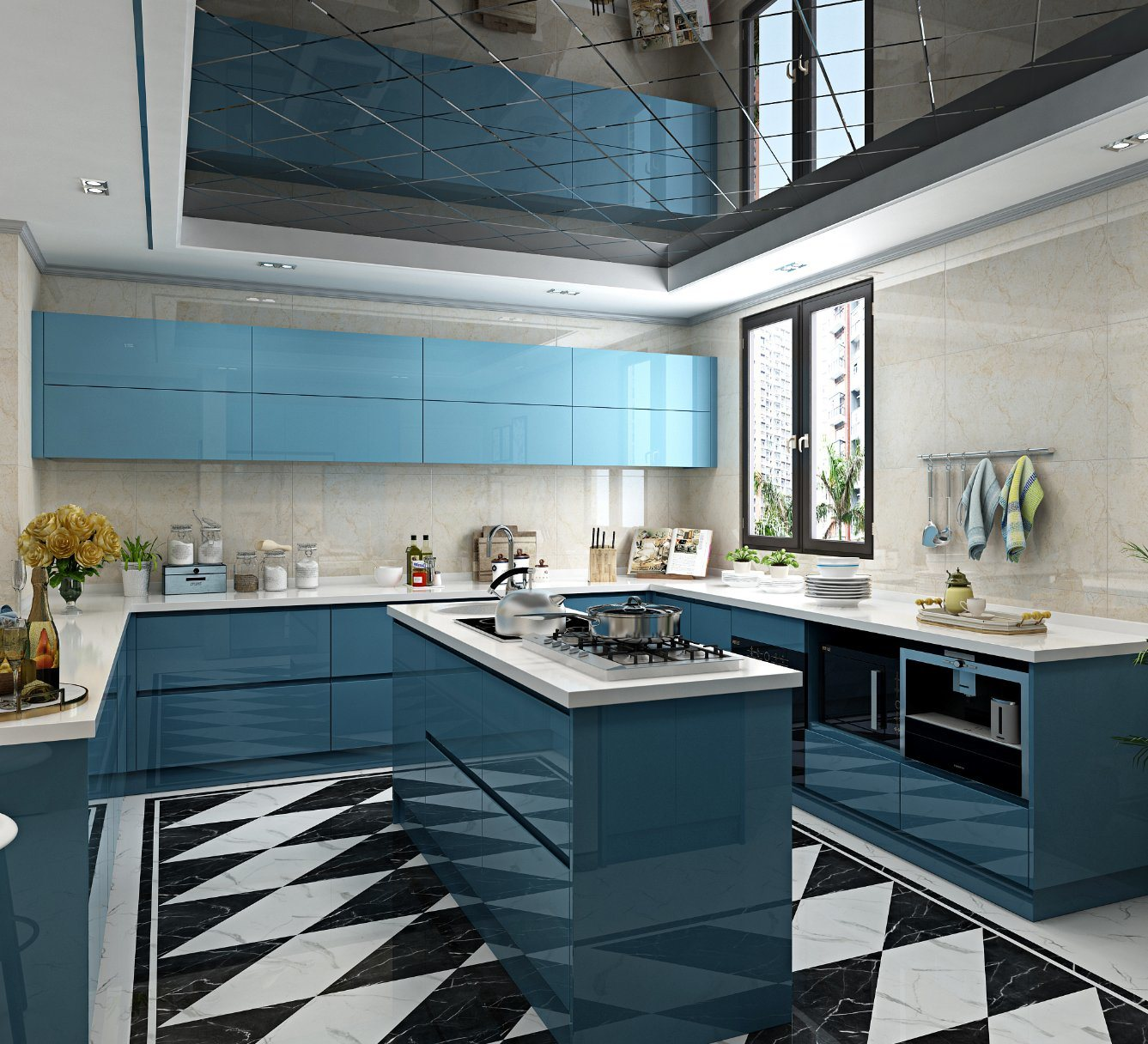 China Modern Euro High Gloss Blue 2 Pack Lacquer Home Kitchen