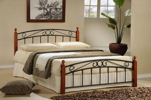 China Sweet Home Metal Bed With Wood, Wood Wrought Iron Bedroom Furniture