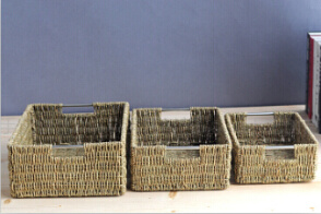 Multifunction Eco Friendly Rectangular Seagrass Storage Basket With Handle