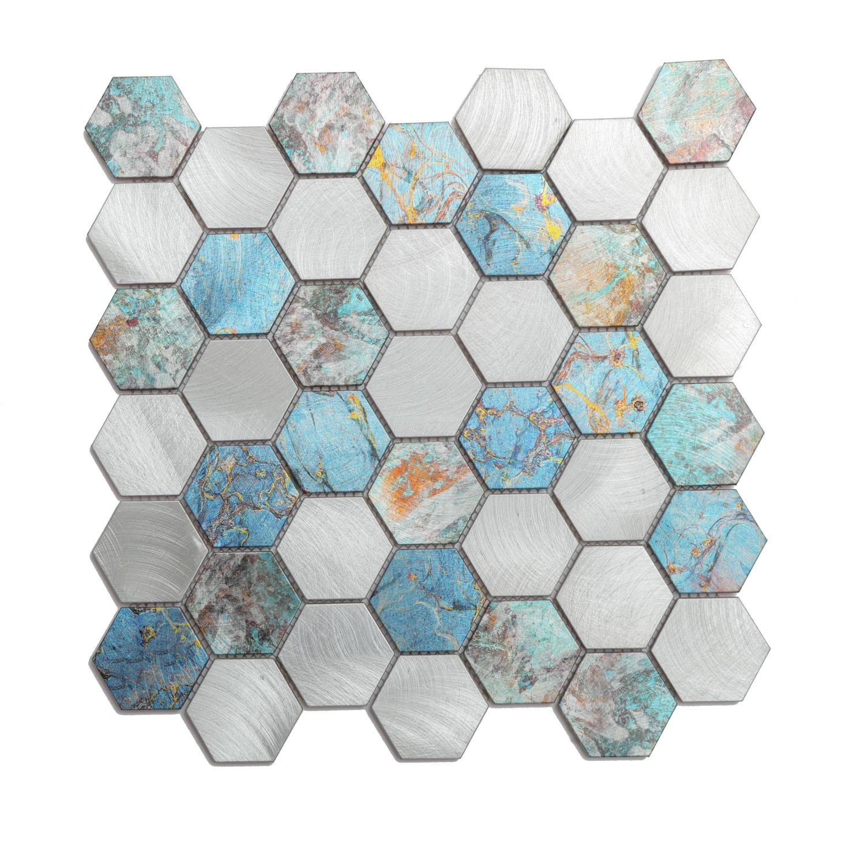 China Hot Sell Blue Color Irregular Hexagon Aluminum Mosaic Kitchen Tiles China Aluminum Mosaic Mosaic Tile