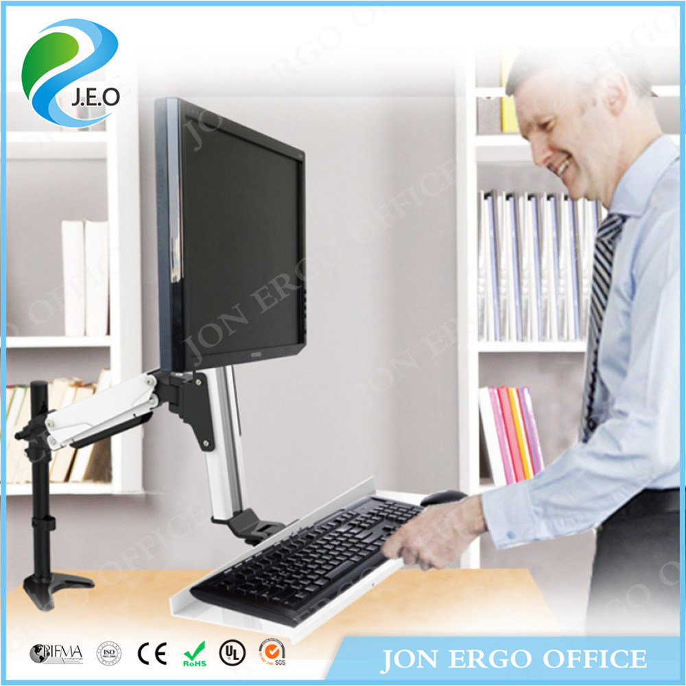 China Jeo Ws11 Support One Pc Monitor And Keyboard Tray Adjule Workstation Mount Arm Stand Riser