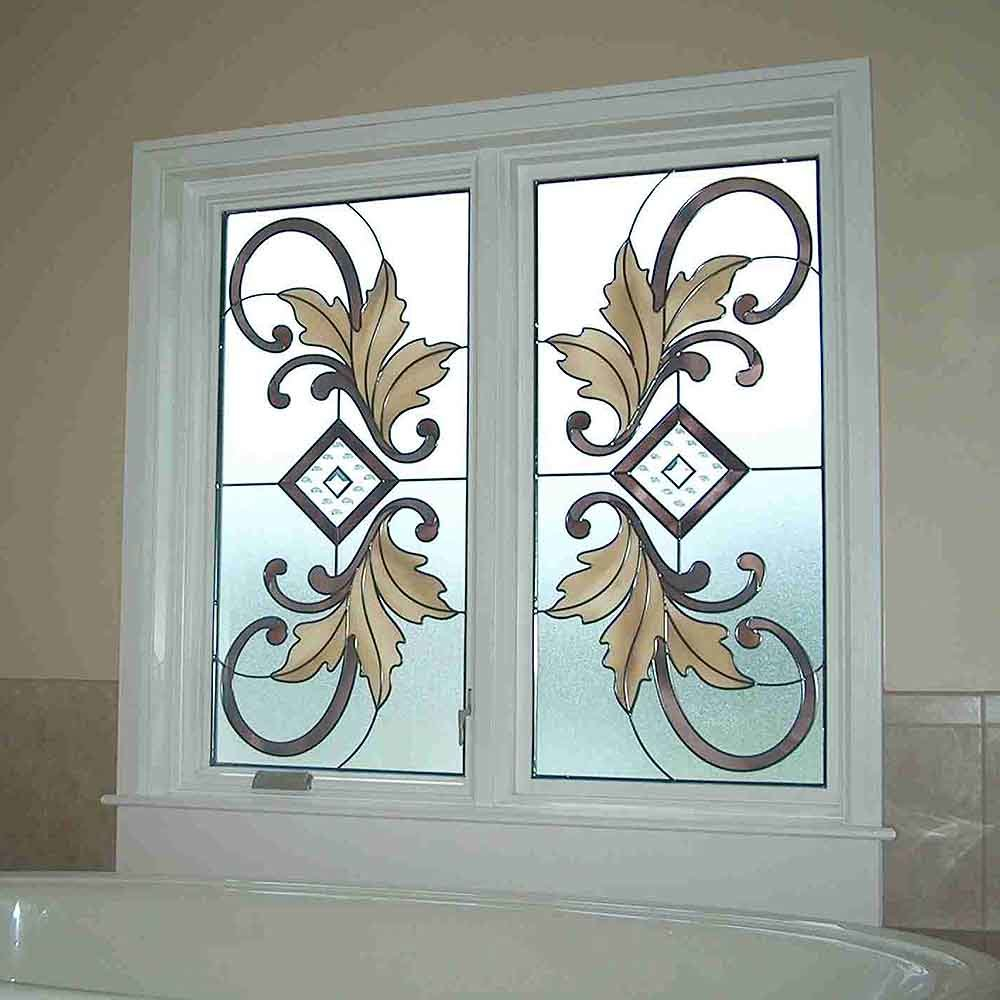 China Supplier Modern Design Patterns Shower Door Stained Glass
