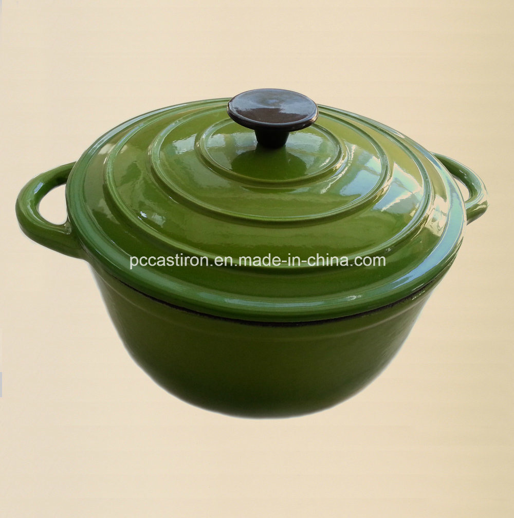 Green Enamel Cast Iron Casserole with Bakelite Knob pictures & photos