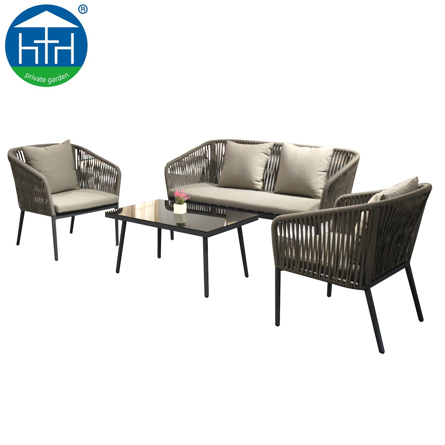Rope Patio Furniture.Hot Item Big Loading Capacity Outdoor Furniture Polyester Rope Patio Sofa Chair Garden Set