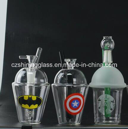 Glass Water Pipe Starbuck Oil Rig with Spider Man Picture for Smoking