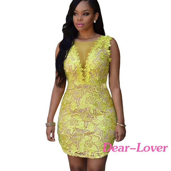 49660e84fd China Yellow Lace Nude Mesh Accent Dress - China Bodycon Dress