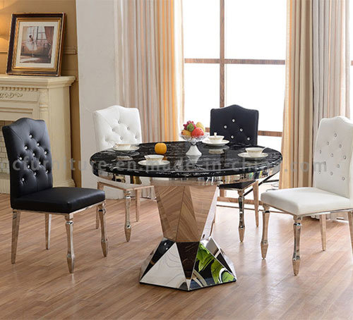 Round Shape Black Marble Dining Table With Chairs