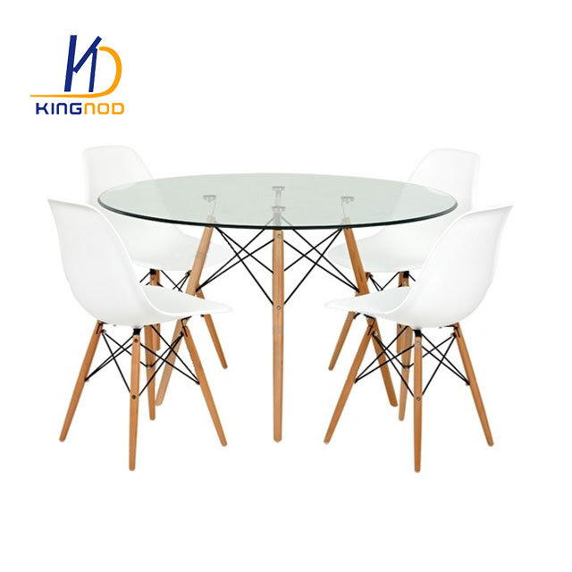Merveilleux China Replica Eames Round 120cm Glass Dining Table   Metal And Beech Wooden  Leg   China Eames Glass Table, Glass Dining Table