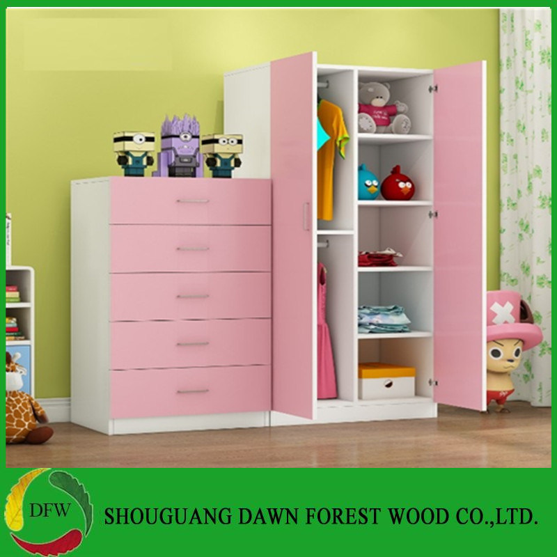 [Hot Item] Simple Bedroom Sets Pink Children′s Wardrobe with Double Open  Doors