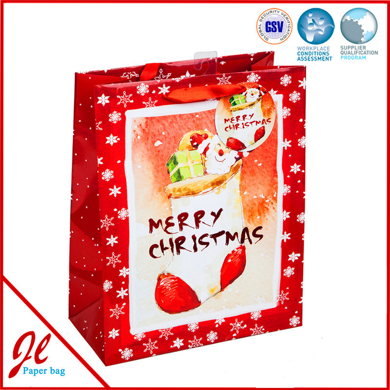2016 Hot Sale Christmas Luxury New Style Paper Gift Bags with 3D/Glitter/Foil