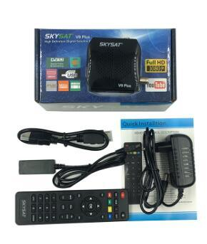[Hot Item] DVB-S2 HD Skysat V9 Plus Satellite TV Receiver +WiFi +Support  Powervu Biss Key Cccamd Newcamd Youtube Set Top Box