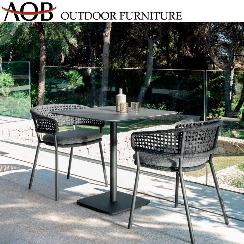 China Modern Outdoor Garden Patio Furniture Restaurant Cafe 2 Seater Aluminum Rectangular Table Dining Set Arm Chair China Outdoor Furniture Dining Furniture