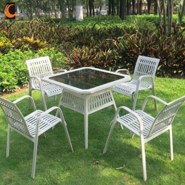 [Hot Item] Anti Fading Chinese Home Garden Modern Metal Rattan Restaurant  Outdoor Furniture Set (WS-15584)